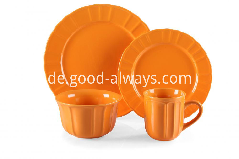 Stonewaer emboosed dinnerset orange